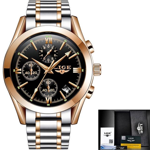 LIGE Men's Luxury Waterproof Chronograph Calendar Date Male Quartz Watches 5