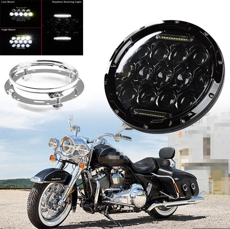 """DOT E9 60 W 7 """"indicateur de clignotant de phare LED de moto avec support de montage de 7 pouces Combo pour Harley Davidson"""