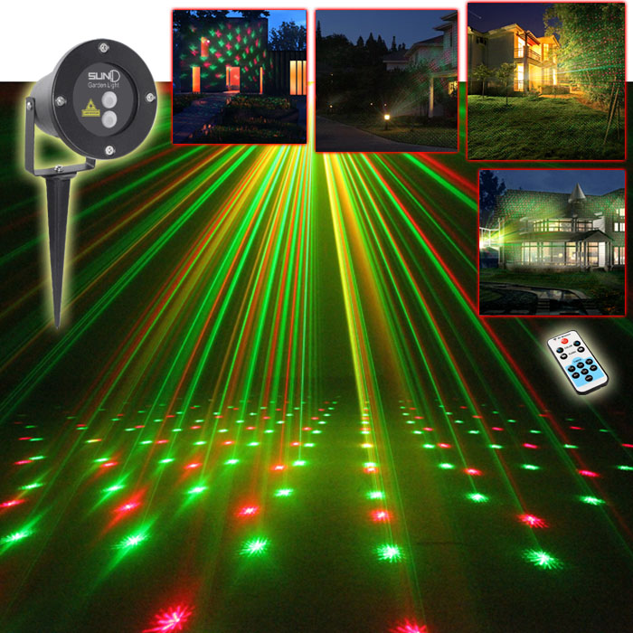New SUNY Outdoor Remote Control Star RG Green Red Laser Projector Landscape Garden Yard Xmas Snow Lighting Home Light Show House