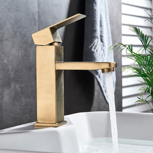 Image 5 - Brushed Gold Basin Sink Faucet Single Lever Square Hot Cold Water Tap Deck Mounted Bathroom Vessel Sink Mixers One Hole