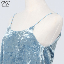 PK blue velvet top women summer 2017 sleeveless haut femme sexy velvet tank top women summer velvet tops for women camisoles