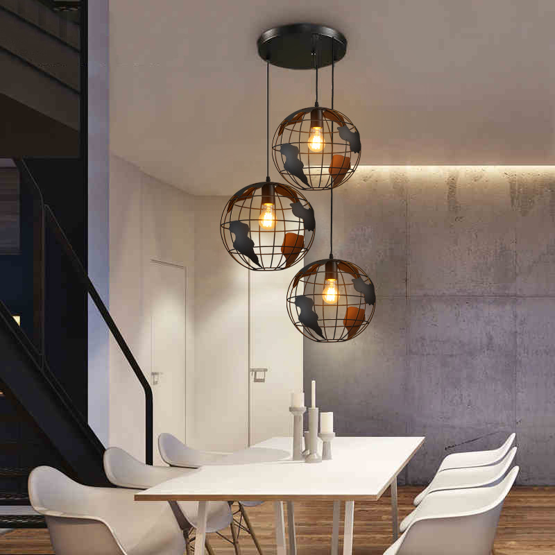 European retro industrial wind chandelier personality clothing store coffee restaurant three single head bar lamp personalized clothing store track lamp