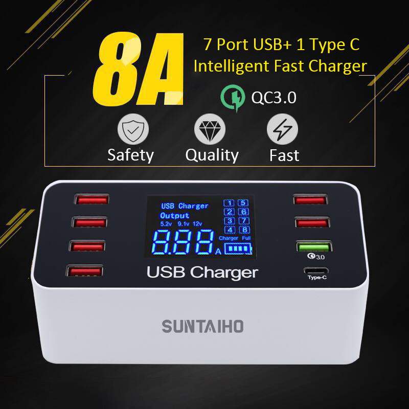 USB Charging station Quick Charge 3 0 4 0 40W PD Smart USB Type C Fast Charging dock Station Led Display For iPhone Charger in Mobile Phone Chargers from Cellphones Telecommunications