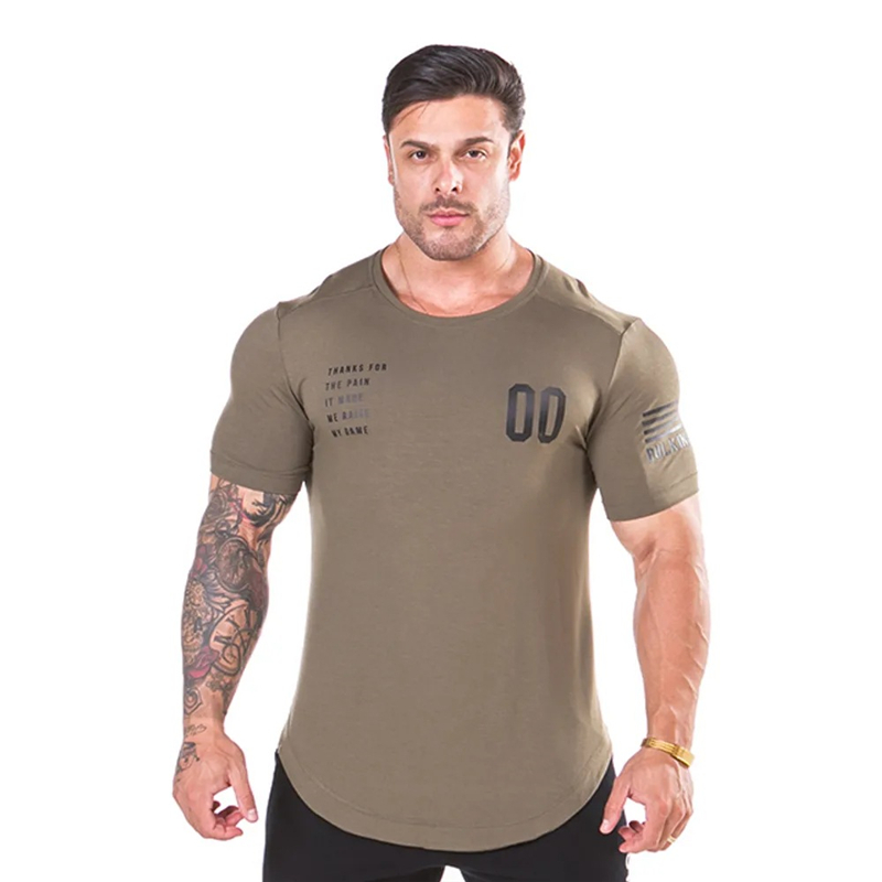 2019 Men's T-Shirts Fashion Short Sleeved Fitness Bodybuilding Shirt For Men Workout Slim Fit Cotton tee tops