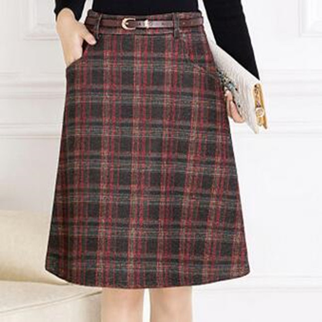 aa8a1c63c2a Autumn Winter Women Woolen Skirts High Waist Casual A-Linen Skirt Womens  Vintage Career Formal Skirt Plus Size Plaid Skirts