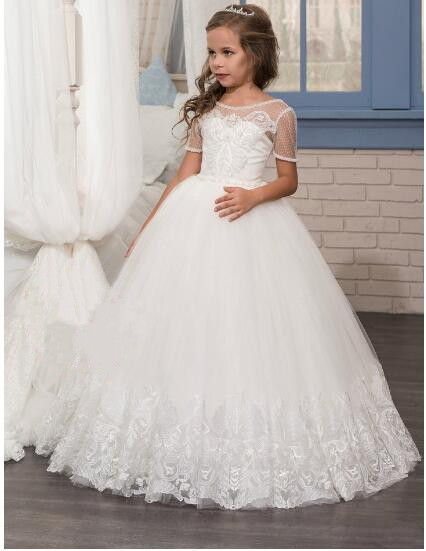 173e37904c18f White Ivory Puffy First Communion Dresses for Girls Ball Gown with Belt  Lace Pearls Elegant Flower Girl Dress