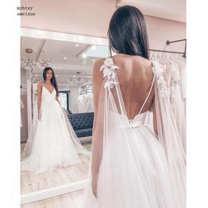 Image 2 - Sexy Spaghetti Straps Tulle Skirt Top Satin Vestido De Novia Sleeveless V neck Boho Backless 2020 Wedding Dress Bride Dress