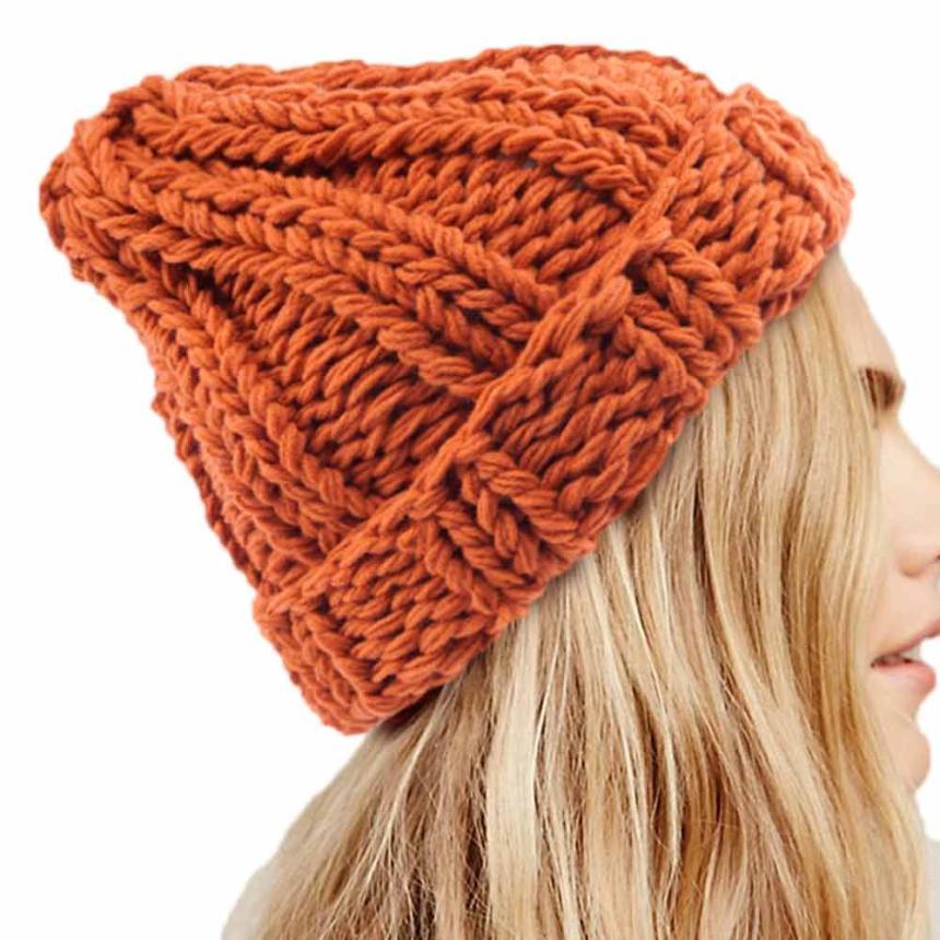 Women Fashion Keep Warm Manual Wool Knitted Earmuffs Hats Girls Caps Moda Feminina Casquette Femme