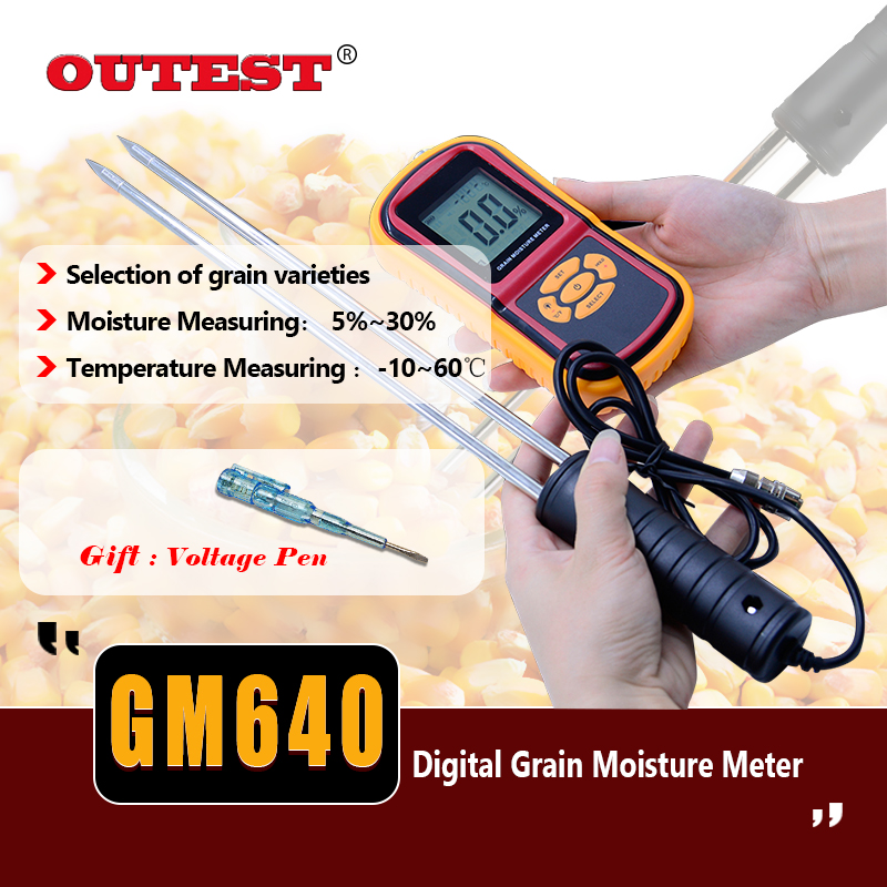 LCD Food moisture meter GM640 Grain Moisture Meter for Corn Wheat Rice Bean Temperature Humidity Tester Monitor +Long probe benetech gm610 1 75 lcd moisture meter black orange