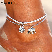 YAOLOGE Hot Sale Simple Metal Chain Foot Decoration Fashion Sun Elephant Beach Anklet Retro Bohemian Style For Women Jewelry New(China)