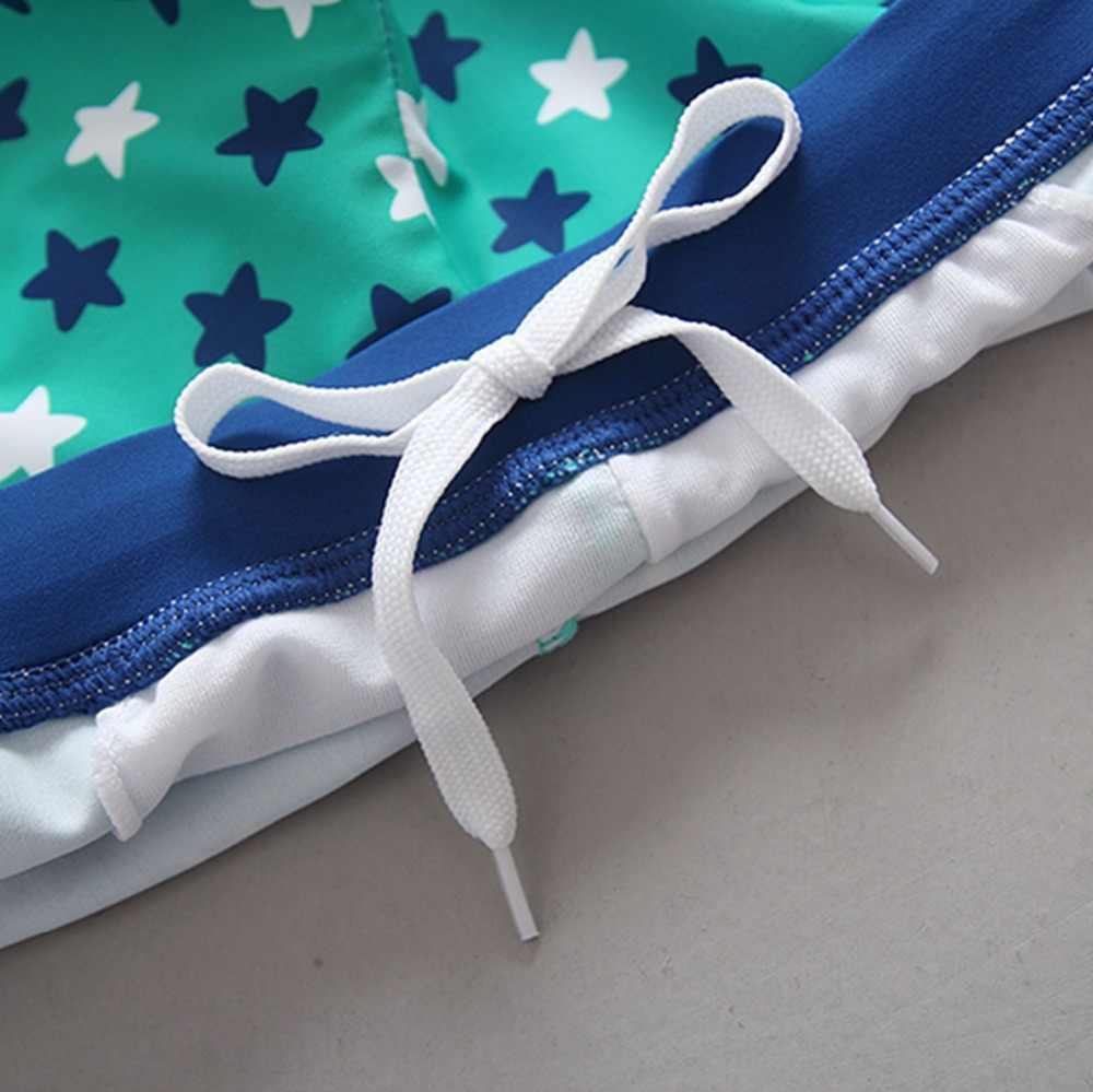 Bayi Baju Renang UV Protected Lengan Panjang Baju Renang Indah Katak Cetak Dua Potong + Topi Anak Laki-laki Baju Renang Anak Kolam Renang pakaian