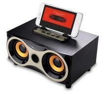 цена на Big power Wooden Portable wireless Mini Bluetooth Speaker HIFI Speaker FM Radio Amplifier Stereo Sound Box with TF USB