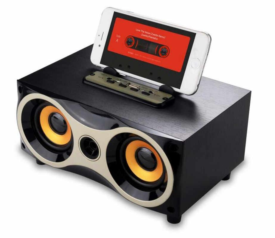 ビッグパワー木製ポータブルワイヤレスミニ bluetooth スピーカーハイファイスピーカー fm ラジオアンプステレオサウンドボックス tf usb