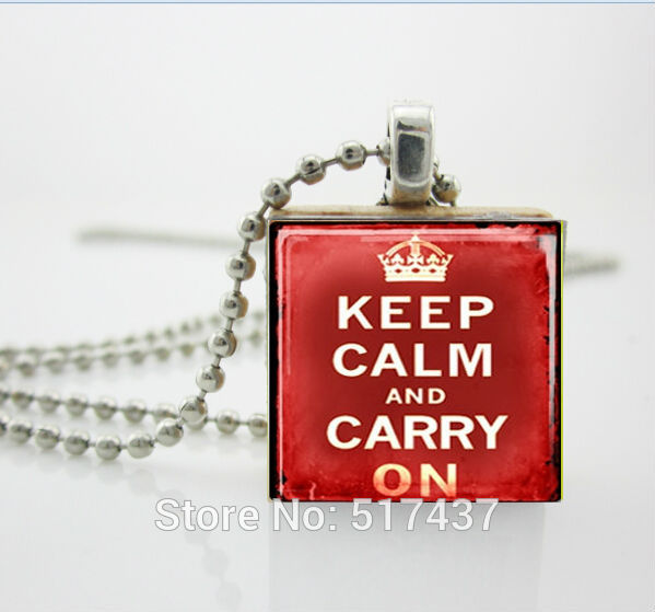 Женщин Способа Ожерелья 2014, Сохранять Спокойствие и Carry On Deep Red Эрудит Плитка Подвеска с Шариковой Цепью Ожерелье Включены