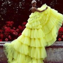 Потрясающие желтые Многослойные фатиновые платья для выпускного
