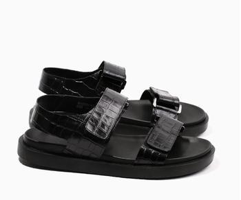 Summer Men's Flats Moccasins Gladiator Hook&Loop Narrow Band Genuine Leather Alligator Pattern Platform Height Increasing Shoes