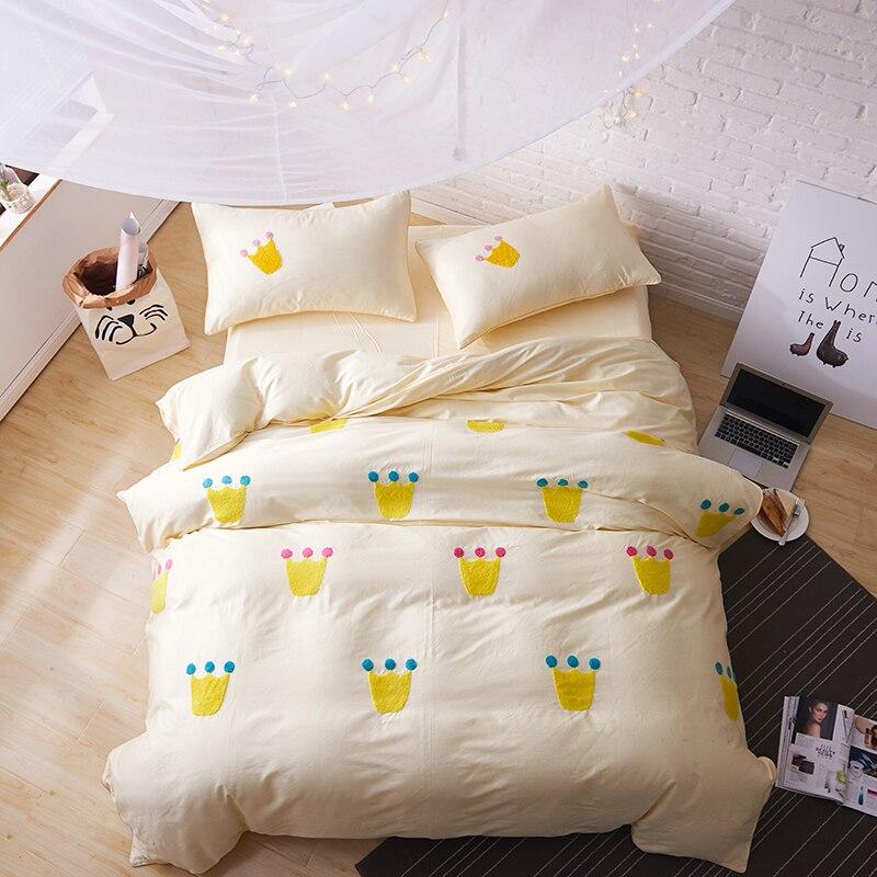 Svetanya Applique Embroidery Bedding Sets Egyptian cotton Duvet Cover Set Queen King Size Bedlinen