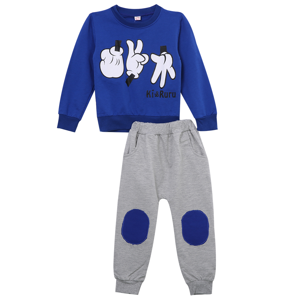 2016 Fashion Lovely Babys Kids Boys Finger Games Sport Long Sleeve Tracksuits 2pcs Outfit Sets 2-7 Y