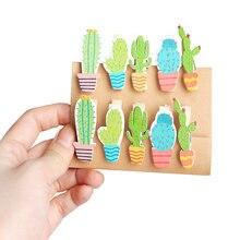 10 шт/лот милые деревянные прищепки кактуса с пеньковым фото