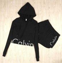 Calvin marca chándal de Dos piezas Mujeres Conjunto Sudadera Larga Pantalones de manga Corta top y pantalones cortos Set chandal mujer completo