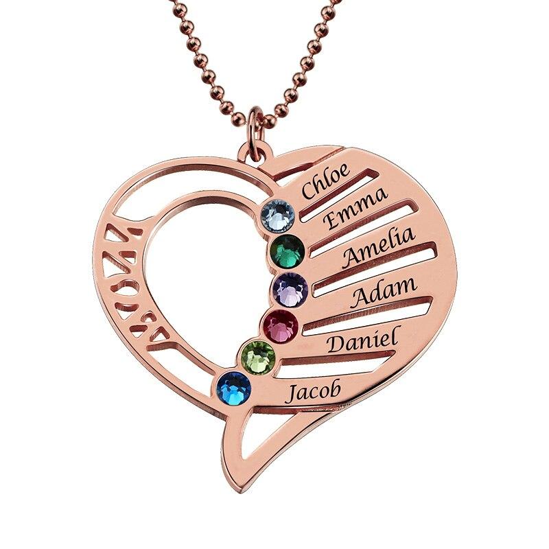 Gros maman coeur collier avec pierres de naissance couleur or Rose personnalisé enfants nom collier coeur collier fête des mères cadeau