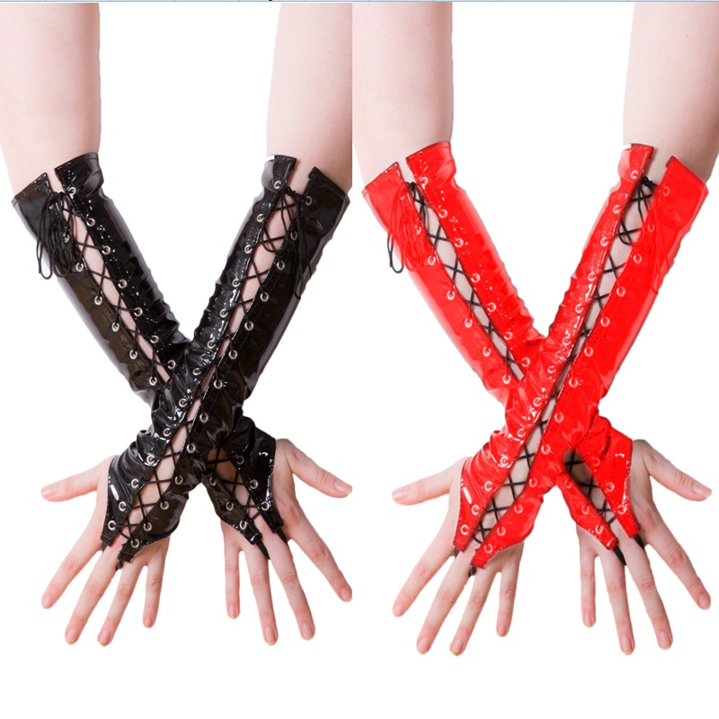 Latex Gothic Fetish Clubwear Elbow Gloves Women's Fashion Lace Up Fingerless Gloves Black Red PVC Leather Dancing Adult