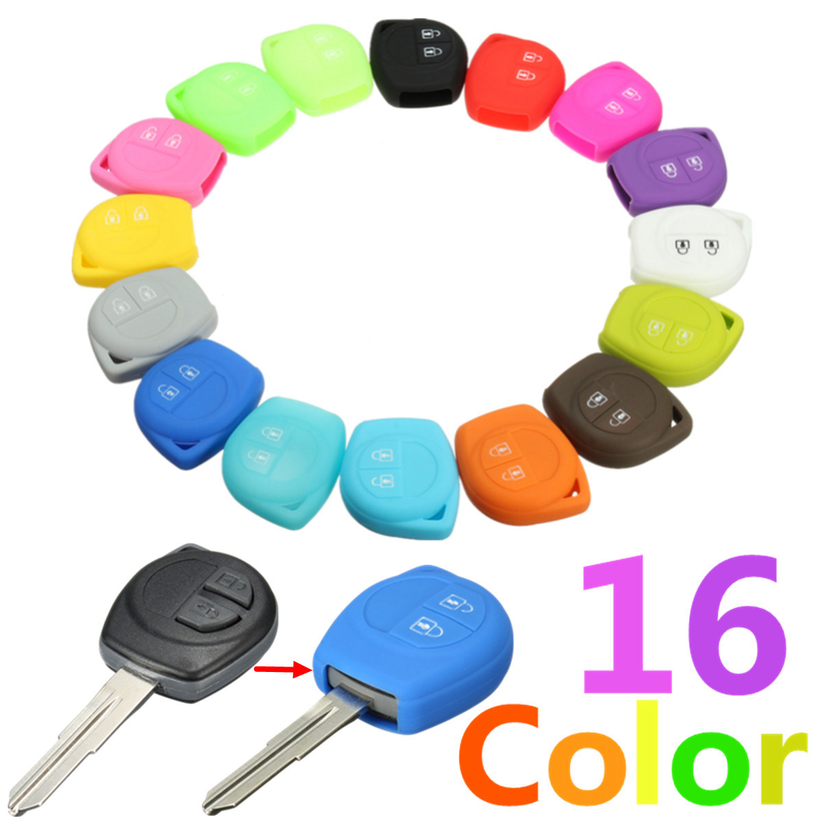 16 Color Silicone 2 Button Remote Key Case Fob Protect Cover For Suzuki /SX4 /Swift /Vitara-in Key Case for Car from Automobiles & Motorcycles