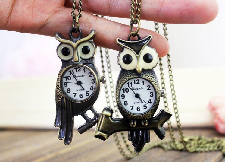 1pcs Retro Owl Shape Quartz Pocket Watch With Free Chain Antique Vintage Animal Pendant Key Ring Men Gift