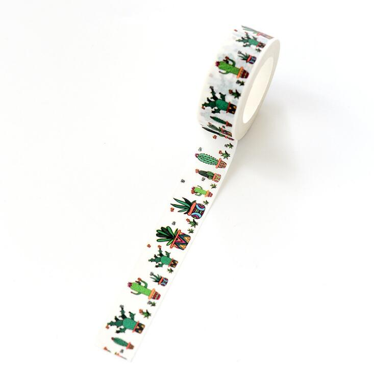 1.5 cm Wide Vitality Cactus Washi Tape Adhesive Tape DIY Scrapbooking Sticker Label Masking Tape цены