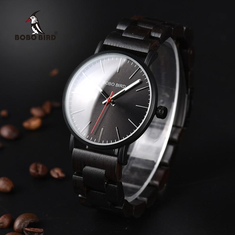 BOBO BIRD Men Watches Wooden Quartz Wristwatches Luxury Ebony wood watch band relogio masculino C-Q30 2017 bobo bird brand luxury watch men genuine leather band outdoor casual wristwatches relogio masculino gifts c c20