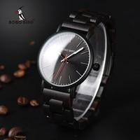 BOBO BIRD Men Watches Wooden Quartz Wristwatches Luxury Ebony wood watch band relogio masculino C Q30