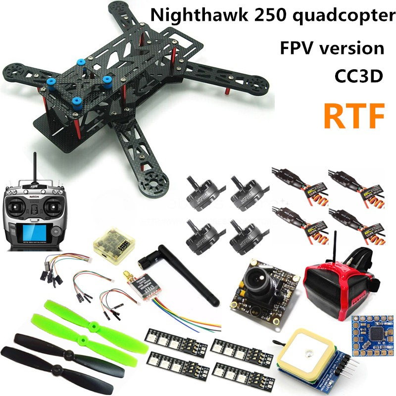 FPV N250 quadcopter mini drone NAZE32 10DOF + 2204II 2300KV motor + AT9 remote control + 700TVL camera + HEAD display + GPS RTF diy fpv mini drone qav210 zmr210 race quadcopter full carbon frame kit naze32 emax 2204ii kv2300 motor bl12a esc run with 4s