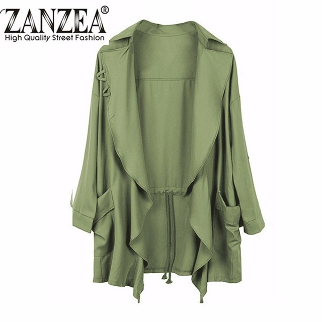 2017 Spring Women Slim Thin Trench Outerwear Casual Lapel Windbreaker Cape Coat European Style Chiffon Cardigan Plus Size S-5XL