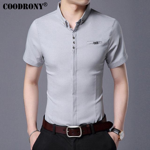 Spring Summer New Business Casual Short Sleeve With Pocket Modern Elegant Men Slim Fit Shirt