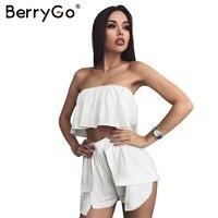 BerryGo off ramię odzież zestaw kombinezon romper Kobiety szyfonowa wzburzyć crop top szorty Casual biały romper playsuit plaża