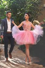 2016 neue Rosa Neckholder Backless 3D Blume Cocktailkleider Elegante Backless Short Prom Dresses Tulle Homecoming Kleider
