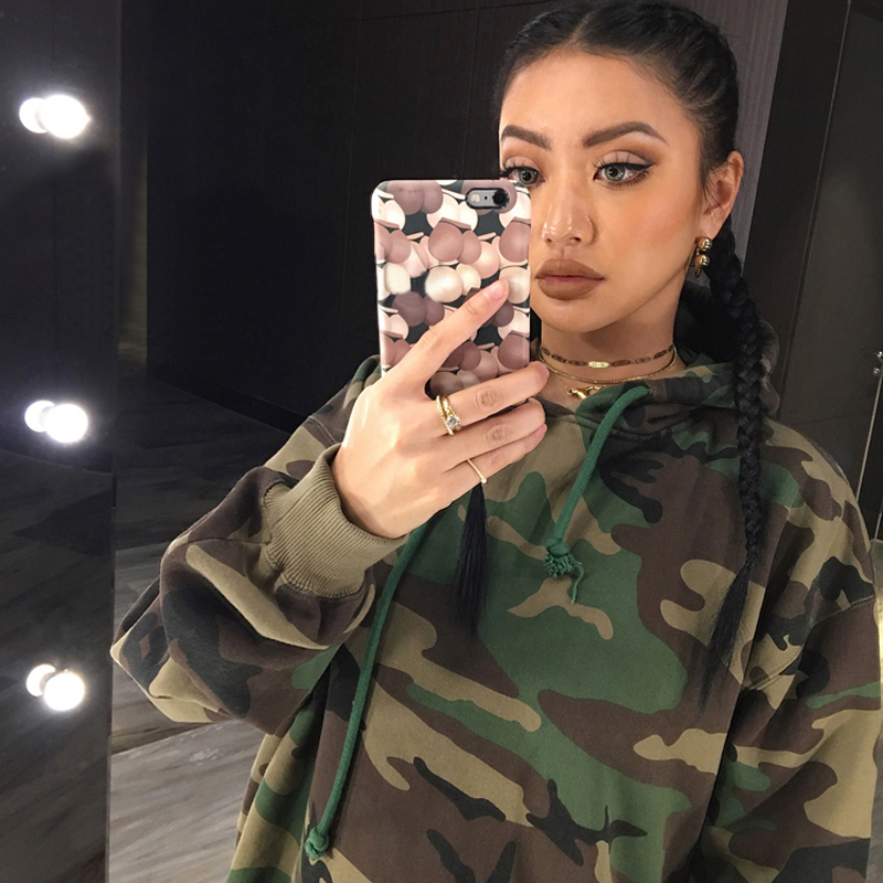 Autumn Camouflage Warm Hoodies Sweatshirt Women Long Sleeve Femme Army Fashion Pullover Hoodie Loose Moletons Sexy Women Hoodies