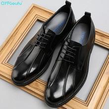 Brand Lace-up Men Oxfords Formal Shoes Black/ Brown Genuine Leather Men Dress Shoes Wedding Luxury Suit Men Flats