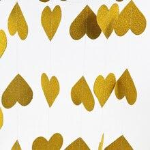 Gold wedding garland, gold party decor, hanging Paper garland, Birthday Decor, golden anniversary, Children Room Home Decor 3m