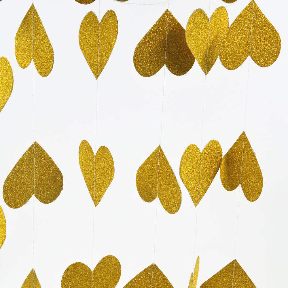Gold wedding garland, gold party decor, hanging Paper garland, Birthday Decor, golden anniversary, Children Room Home Decor 3m
