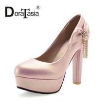 DoraTasia Big Size 32-43 Gladiator Square High Heels Women Pumps Sexy Party Wedding Dress Metal Chains Platform Shoes