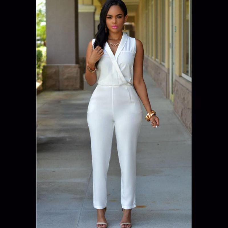 NFIVE 2017new Autumn And Winter Women White Turndown Collar High-waisted  Jumpsuit Comfortable Formal Clothes c087d57aa09b