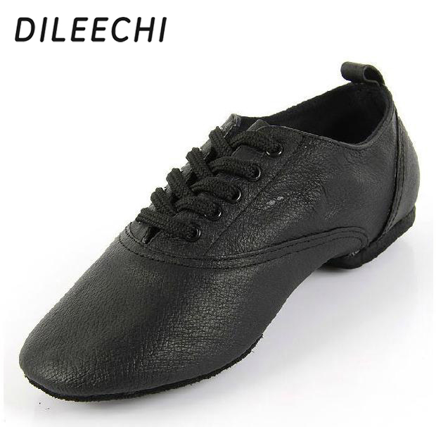 DILEECHI genuine leather dance shoes soft outsole modern dance shoes Pigskin Jazz shoes with big size
