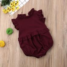 купить Lovely Baby Newborn Girls Ruffle Design Chiffon Cool Jumpsuit Flare Sleeve Romper Infant Casual Bodysuit Outfits онлайн