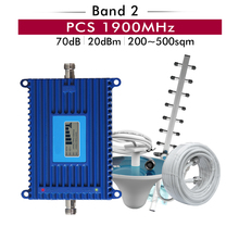 70dB Gain 20dBm Band 2 PCS 1900mhz Mobile Signal Repeater Amplifier cellular Cell Phone Booster Full Set kits