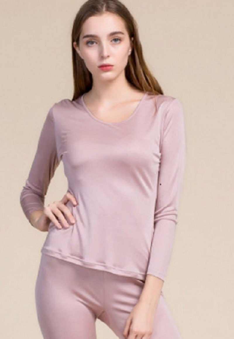 New Silk Thermal Underwear Set Female Round Collar Pure Color 100% Mulberry Silk Double Knit Long Johns
