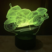Motorcycl 3D Night Light Changeable Mood Lamp LED 7 Colors USB 3D Illusion Table Lamp For Home Decorative As Kids Toy Gift