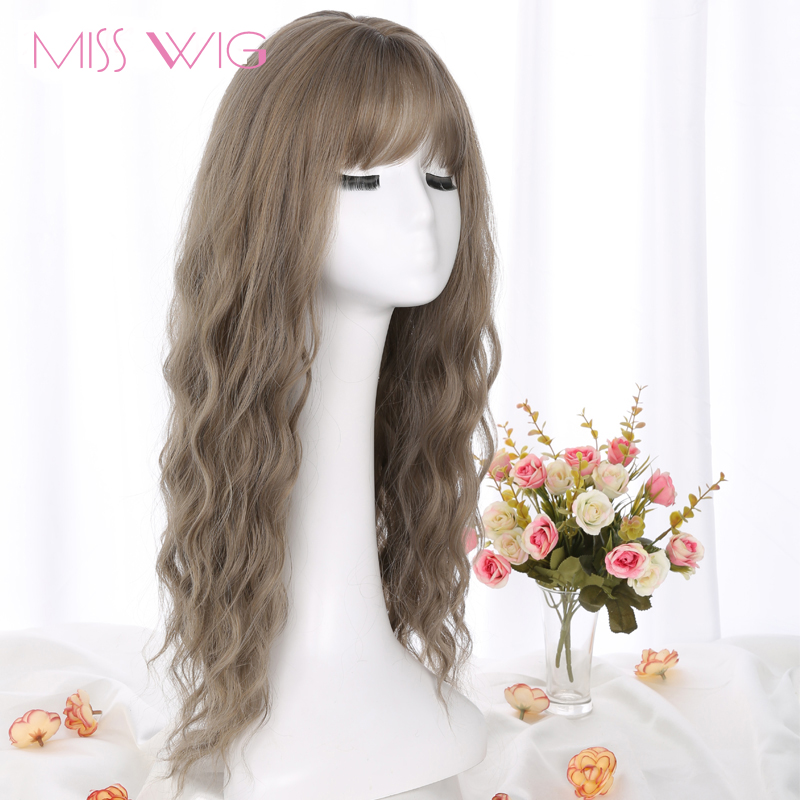 MERISI HAIR 26 SLong Grey Brown Womens Wigs with Bangs Heat Resistant Synthetic Wavy Wigs for Black Women African American-+-