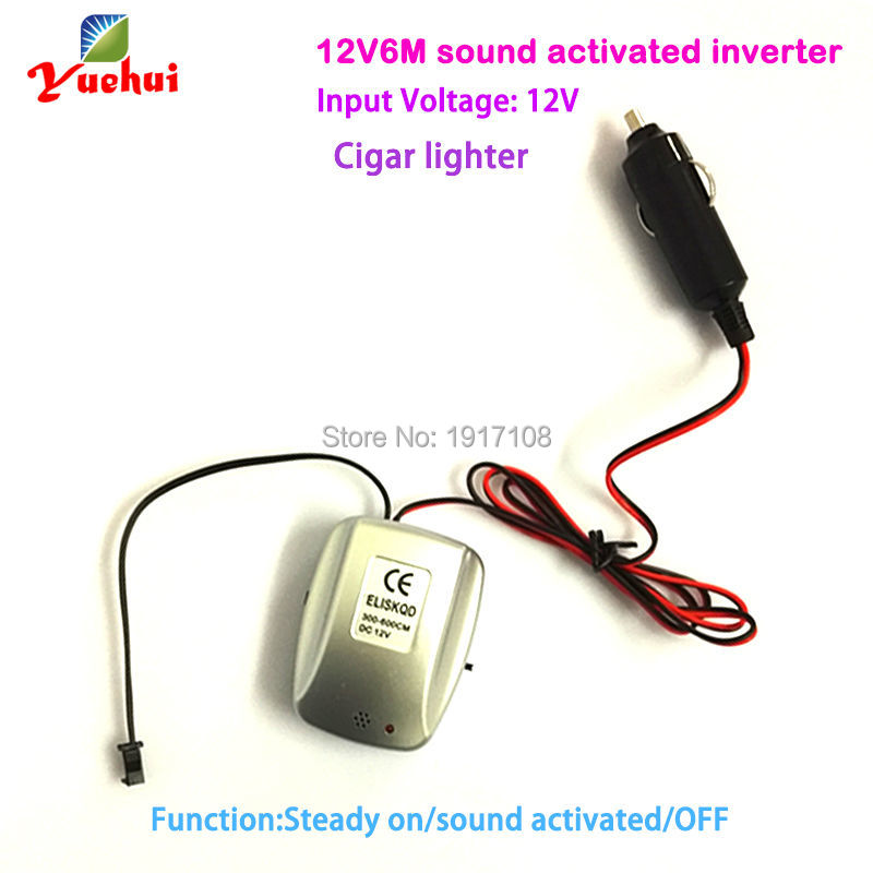 DC12V Sound Activated with cigar lighter EL wire Inverter/ EL driver for 3-6meters long el wire el strips for Party decoration