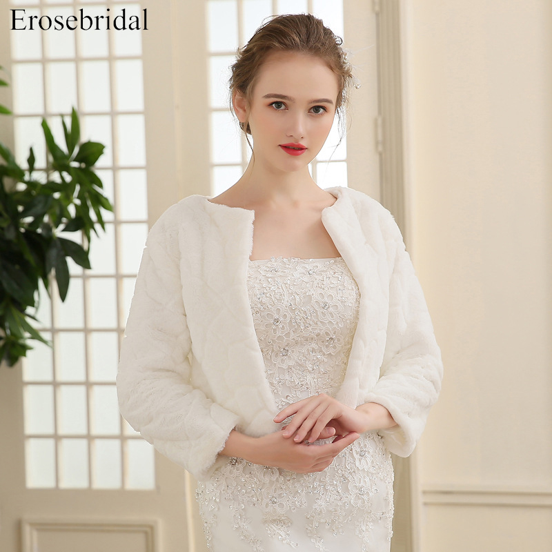 2019 New Arrival Faux Fur Jacket Wrap Shrug Bolero Coat Wraps Shawl Cape Bridal Wedding Shawl Bridal Accessories In Stock